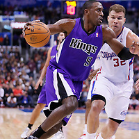 25 October 2013: Sacramento Kings power forward Patrick Patterson (9) drives past Los Angeles Clippers power forward Blake Griffin (32) during the Sacramento Kings 110-100 victory over the Los Angeles Clippers at the Staples Center, Los Angeles, California, USA.