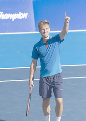 February 21, 2018 - Delray Beach, FL, United States - Delray Beach, FL - February 21: Peter Gojowczyk (GER) celebrating here, defeats John Isner (USA) 76(3) 67(4) 76(5) at the 2018 Delray Beach Open held at the Delray Beach Tennis Center in Delray Beach, Florida. (Credit Image: © Andrew Patron via ZUMA Wire)