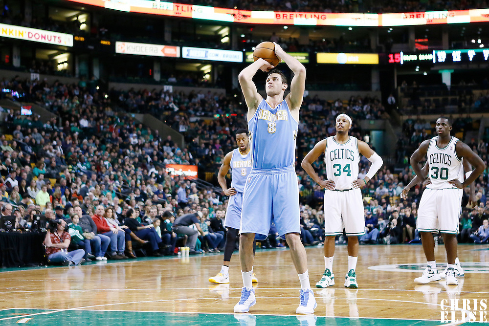 10 February 2013: Denver Nuggets small forward Danilo Gallinari (8) is seen at the free throw line during the Boston Celtics 118-114 3OT victory over the Denver Nuggets at the TD Garden, Boston, Massachusetts, USA.