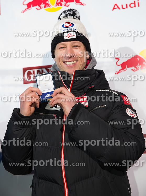 26.01.2013, Streif, Kitzbuehel, AUT, FIS Weltcup Ski Alpin, Abfahrt, Herren, Siegerehrung, im Bild Hannes Reichelt (AUT, 1. Platz) // 3th place Hannes Reichelt of Austria celebrate on Podium during mens Downhill-Winner ceremony of the FIS Ski Alpine World Cup at the Streif course, Kitzbuehel, Austria on 2013/01/26. EXPA Pictures © 2013, PhotoCredit: EXPA/ Johann Groder