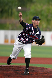 12 August 2011: Starting pitcher Tyler Lavigne during a game between the Rockford River Hawks and the Normal Cornbelters at the Corn Crib in Normal Illinois.