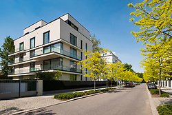 Modern luxury apartment buildings on Clara-Wieck-Strasse in the new diplomatic quarter of Berlin, Germany