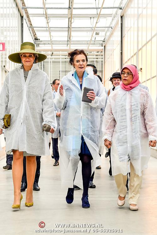 NLD/Bleiswijk/20181122 - Koningin Maxima en president Halimah brengenbezoek aan Horticultural Centre Bleiswijk, Koningin Maxima met mevrouw Frescu en Halimah