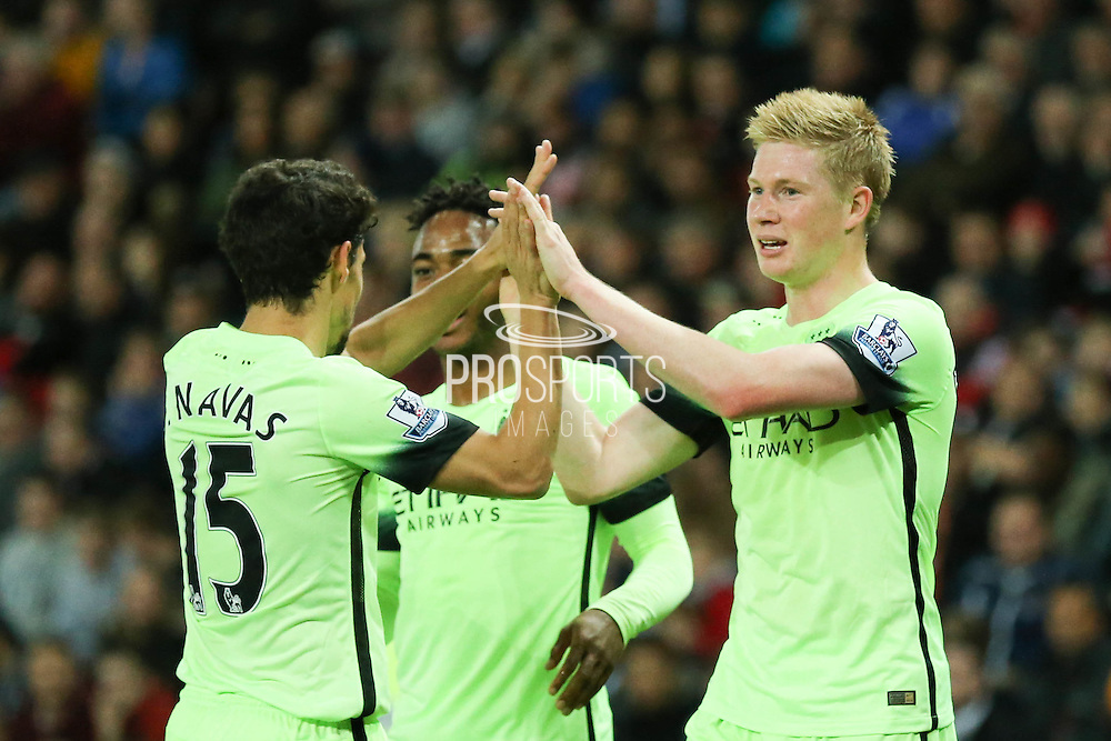 Manchester City midfielder Kevin De Bruyne celebrates his goal during the Capital One Cup match between Sunderland and Manchester City at the Stadium Of Light, Sunderland, England on 22 September 2015. Photo by Simon Davies.