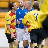 St Johnstone v Partick Thistle....25.10.08<br /> Paul Sheerin goes nuts at Simon Storey as the ref Colin Brown shows him the red card<br /> Picture by Graeme Hart.<br /> Copyright Perthshire Picture Agency<br /> Tel: 01738 623350  Mobile: 07990 594431