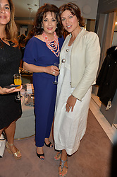 Left to right, BARIA ALAMUDDIN (Amal Clooney's mother) and KATE SILVERTON at a party to celebrate the paperback lauch of The Stylist by Rosie Nixon hosted by Donna Ida at her store at 106 Draycott Avenue, London on 17th August 2016.