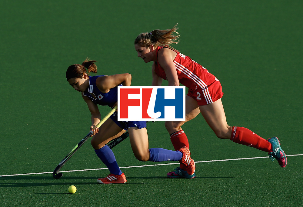 JOHANNESBURG, SOUTH AFRICA - JULY 12: Zoe Shipperley of England and Yuri Nagai of Japan battle for possession during day 3 of the FIH Hockey World League Semi Finals Pool A match between Japan and England at Wits University on July 12, 2017 in Johannesburg, South Africa. (Photo by Jan Kruger/Getty Images for FIH)