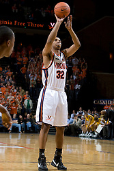 Virginia Cavaliers F Mike Scott (32) scores his first points as a Cavalier from the free throw line.  The Virginia Cavaliers men's basketball team defeated the Vermont Catamounts 90-72 at the John Paul Jones Arena in Charlottesville, VA on November 11, 2007.