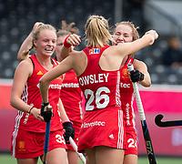 ANTWERP - BELFIUS EUROHOCKEY Championship.   Germany-England (1-1) women . Lily Owsley (Eng) scored the 0-1 goal. right Shona McCallin (Eng) , left Isabelle Petter (Eng). WSP/ KOEN SUYK