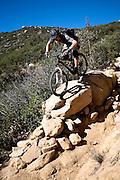 Ryan Leech navigates the crux of the Chiquito trail in Orange County, California