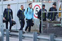 The Manchester City team get the train to London on Friday for their Premier League match against Chelsea¦. Ederson, Gabriel Jesus, Danilo and Nikoilas Otamendi.