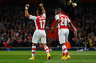 Alexis Sanchez of Arsenal celebrates scoring the opening goal against Southampton during the Capital One Cup match at the Emirates Stadium, London<br /> Picture by David Horn/Focus Images Ltd +44 7545 970036<br /> 23/09/2014