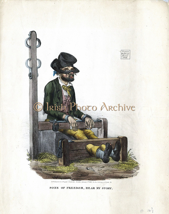 Man, looking as if he has been in a drunken brawl, serving his sentence in the village stocks. Attached to stocks is the pillory post with constraints for the arms. Lithograph London 1834