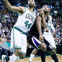 30 January 2013: Boston Celtics power forward Chris Wilcox (44) vies for the rebound with Sacramento Kings center DeMarcus Cousins (15) during the Boston Celtics 99-81 victory over the Sacramento Kings at the TD Garden, Boston, Massachusetts, USA.