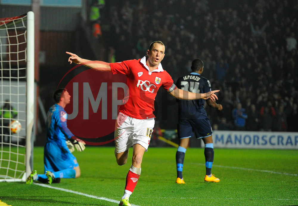 Bristol City's Aaron Wilbraham celebrates his goal  - Photo mandatory by-line: Joe Meredith/JMP - Mobile: 07966 386802 - 17/03/2015 - SPORT - Football - Bristol - Ashton Gate - Bristol City v Crewe Alexandra - Sky Bet League One