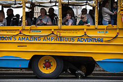 © Licensed to London News Pictures. 19/06/2016. London, UK. The iconic London Duck Tours amphibious vehicle is left stranded in Parliament Square after one of its wheels fell off. Photo credit: Rob Pinney/LNP