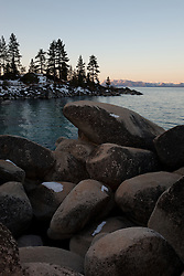 """Tahoe Boulders at Sunrise 22"" - These boulders were photographed at sunrise at Sand Harbor, Lake Tahoe."