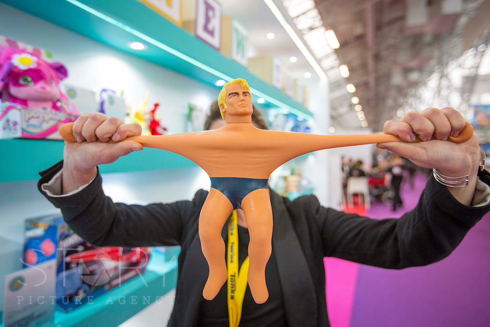 UNITED KINGDOM, London: 25 January 2016 A Stretch Armstrong toy is subject to a demo at The Toy Fair at Olympia, the UK'S only dedicated game and hobby event with more than 260 toy and gaming brands. The fair runs until tomorrow. Rick Findler / Story Picture Agency