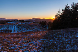 Winter sunset from a hill farm in Stewartstown, New Hampshire.