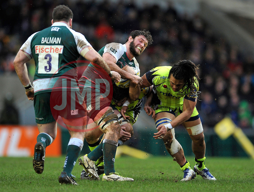 Dom Barrow of Leicester Tigers is tackled - Mandatory byline: Patrick Khachfe/JMP - 07966 386802 - 06/02/2016 - RUGBY UNION - Welford Road - Leicester, England - Leicester Tigers v Sale Sharks - Aviva Premiership.