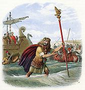 Romans invading Britain: Standard Bearer of the 10th Legion bringing the standard ashore. Colour-printed wood engraving 1864.