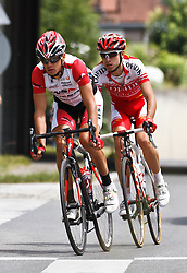 03.07.2011, AUT, Oesterreich Rundfahrt, 1. Etappe, Dornbirn-Goetzis, im Bild Schoeffmann Martin (WSA - Viperbike Kaerten) und Edet Nicolas (Cofidis, Le Credit en Ligne), during the 63rd Tour of Austria, Stage 1, EXPA Pictures © 2011, PhotoCredit: EXPA/ P.Rinderer