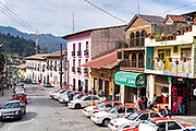 View down Nacional Street in Angangueo, Michoacan, Mexico. Angangueo is a tiny, remote mountain town and the entry point to the Sierra Chincua Monarch Butterfly Sanctuary.