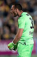 GOSFORD, AUSTRALIA - OCTOBER 02: Adelaide United goalkeeper Isaac Richards (30) celebrating his save during the FFA Cup Semi-final football match between Central Coast Mariners and Adelaide United on October 02, 2019 at Central Coast Stadium in Gosford, Australia. (Photo by Speed Media/Icon Sportswire)