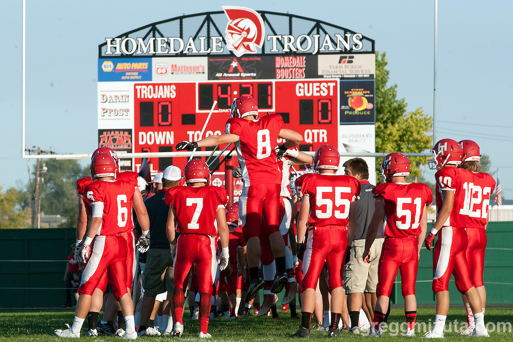 Homedale's starting defensive line-up is introduced before the start of the Vale - Homedale football game, September 11, 2015 at Homedale High School, Homedale, Idaho. Homedale won 40-7.