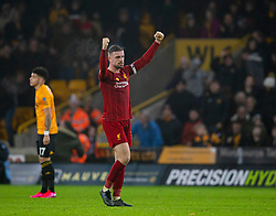 WOLVERHAMPTON, ENGLAND - Thursday, January 23, 2020: Liverpool's captain Jordan Henderson celebrates after the FA Premier League match between Wolverhampton Wanderers FC and Liverpool FC at Molineux Stadium. Liverpool won 2-1. (Pic by David Rawcliffe/Propaganda)