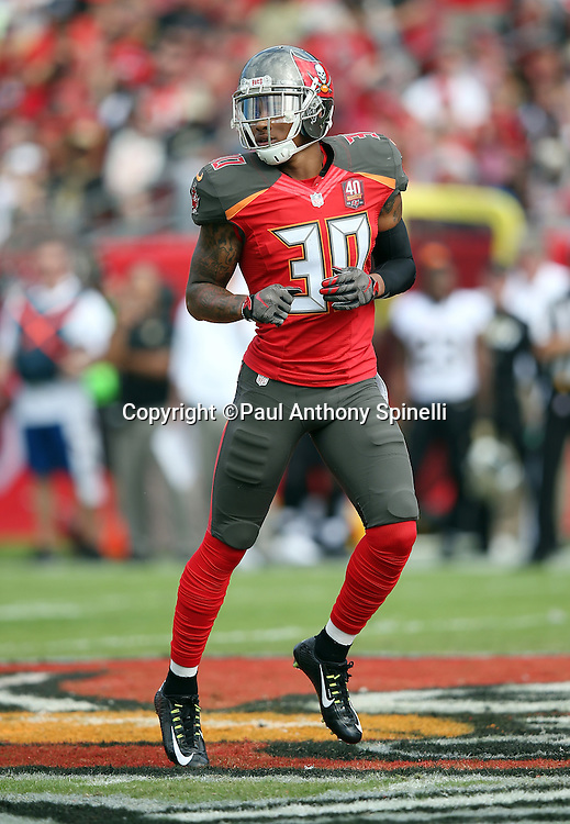 Tampa Bay Buccaneers free safety Bradley McDougald (30) jogs cross field during the 2015 week 14 regular season NFL football game against the New Orleans Saints on Sunday, Dec. 13, 2015 in Tampa, Fla. The Saints won the game 24-17. (©Paul Anthony Spinelli)