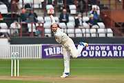 Jack Leach of Somerset bowling during the Specsavers County Champ Div 1 match between Somerset County Cricket Club and Middlesex County Cricket Club at the Cooper Associates County Ground, Taunton, United Kingdom on 26 September 2017. Photo by Graham Hunt.
