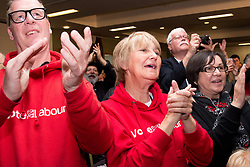 © Licensed to London News Pictures. 6/5/2017. Leicester, UK. Labour Leader JEREMY CORBYN speaking at a rally in Leicester today. Supporters cheering during his speech. Photo credit : Dave Warren/LNP