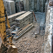 Cement foundation for new building outer walls  on the corner of 7th Avenue South and 11th Street.
