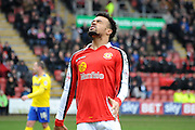 Nicky Ajose frustrated at another wasted chance during the Sky Bet League 1 match between Crewe Alexandra and Crawley Town at Alexandra Stadium, Crewe, England on 3 April 2015. Photo by Michael Hulf.