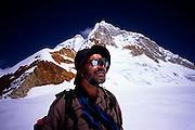 Carl Fatti, Pisco Col 5,300m (17,390ft).  Huandoy Norte 6,395m (20,980ft) behind, Cordillera Blanca, Peru.  Ricoh GR-1v; 28mm/2.8.  Fuji RVP100F