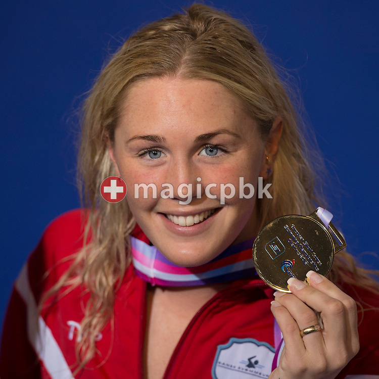 Jeanette OTTESEN GRAY of Denmark poses with her gold medal after winning the women's 50m Butterfly Final during the 16th European Short Course Swimming Championships held at the aquatic complex L'Odyssee in Chartres, France, Friday, Nov. 23, 2012. (Photo by Patrick B. Kraemer / MAGICPBK)