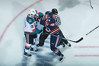 KELOWNA, CANADA - FEBRUARY 24: Luc Smith #24 of the Kamloops Blazers charges at Dillon Dube #19 of the Kelowna Rockets before the puck drop in third period on February 24, 2018 at Prospera Place in Kelowna, British Columbia, Canada.  (Photo by Marissa Baecker/Shoot the Breeze)  *** Local Caption ***