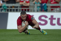 September 1, 2018 - Limerick, Ireland - Tommy O'Donnell of Munster scores a try during the Guinness PRO14 rugby match between Munster Rugby and Toyota Cheetahs at Thomond Park Stadium in Limerick, Ireland on September 1, 2018  (Credit Image: © Andrew Surma/NurPhoto/ZUMA Press)