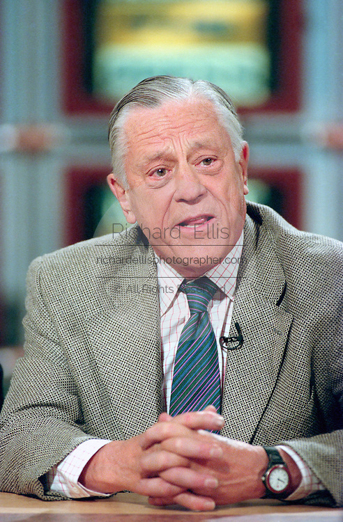 Washington Post Executive Editor Ben Bradlee on NBC's Meet the Press during the 25th anniversary of the Watergate scandal June 15, 1997 in Washington, DC. Bradlee guided the paper through the era of the Pentagon Papers and Watergate died October 22, 2014 at 93.