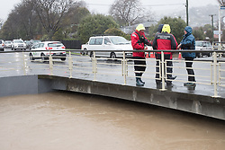 Members of Coastguard Rescue monitor the Heathcote River in case of the need to evacuate residents in the suburb of St Martins, Christchurch, New Zealand, Saturday, July 22, 2017. Credit:SNPA / Adam Binns ** NO ARCHIVING**