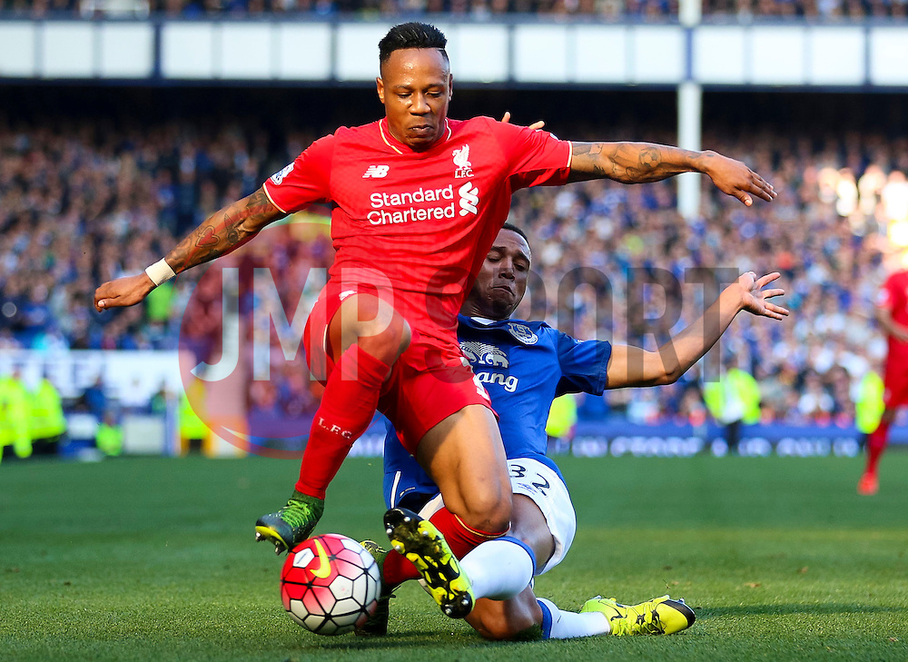Everton's Brendan Galloway tackles Nathaniel Clyne of Liverpool  - Mandatory byline: Matt McNulty/JMP - 07966 386802 - 04/10/2015 - FOOTBALL - Goodison Park - Liverpool, England - Everton  v Liverpool - Barclays Premier League