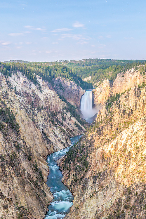 The Lower Falls of the Yellowstone photographed from Artist Point on the South Rim by moonlight.<br />
