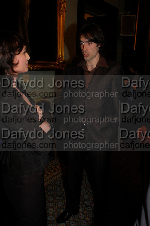 Kristin Scott Thomas and Robert Piras. The Renault French Film season 2005 Press launch. Institute of Directors. 116 Pall Mall. London Sw1. 31 March 2005. ONE TIME USE ONLY - DO NOT ARCHIVE  © Copyright Photograph by Dafydd Jones 66 Stockwell Park Rd. London SW9 0DA Tel 020 7733 0108 www.dafjones.com