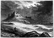 Dunstanburgh Castle on the coast of Northumberland, which changed hands a number of times during the Wars of the Roses between the house of York and Lancaster. Nineteenth century engraving.
