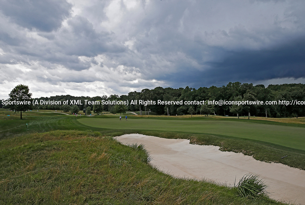POTOMAC, MD - JULY 01:  Storm clouds approach as a weather delay is signaled during the third round of the Quicken Loans National at TPC Potomac at Avenel Farm in Potomac, MD.(Photo by Justin Cooper/Icon Sportswire)