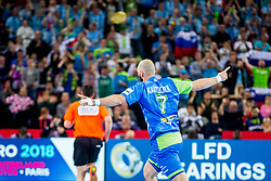 Vid Kavticnik of Slovenia celebrate before handball match between National teams of Slovenia and Macedonia on Day 2 in Preliminary Round of Men's EHF EURO 2018, on January 13, 2018 in Arena Zagreb, Zagreb, Croatia. Photo by Ziga Zupan / Sportida