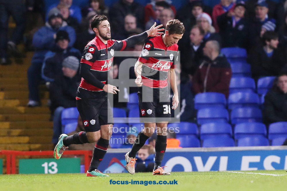 Picture by Richard Calver/Focus Images Ltd +447792 981244<br /> 11/01/2014<br /> Gary O'Neil (right) of Queens Park Rangers is congratulated by team mate, Charlie Austin after scoring the second goal in a 3-0 win in the Sky Bet Championship match against Ipswich Town at Portman Road, Ipswich.