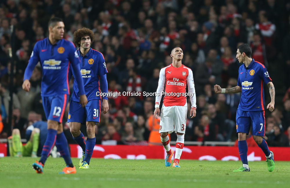 22 November 2014 - Barclays Premier League - Arsenal v Manchester United - Kieran Gibbs of Arsenal looks dejected after scoring an own goal - Photo: Marc Atkins / Offside.