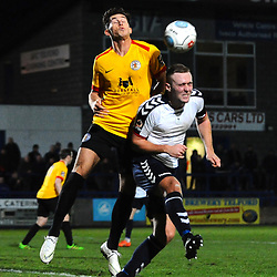 TELFORD COPYRIGHT MIKE SHERIDAN 1/12/2018 - Jon Royle of AFC Telford battles for a header with Mark Ross during the Vanarama Conference North fixture between AFC Telford United and Bradford Park Avenue AFC.